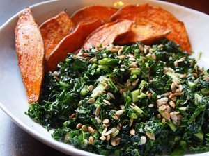 "Kale Salad With Roasted Sweet Potatoes: A ""green"" treat your kids will love!"