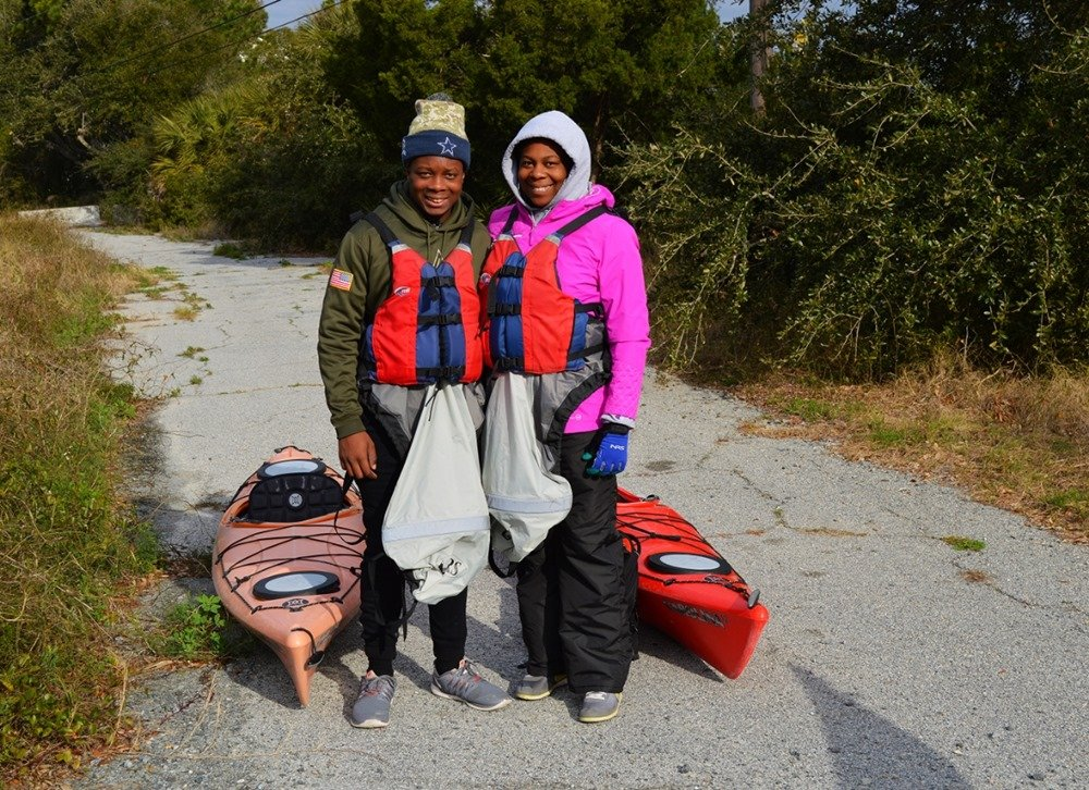 Spray skirts and multi-layered, waterproof clothing provided comfort and safety for cold-weather kayaking in Georgia.