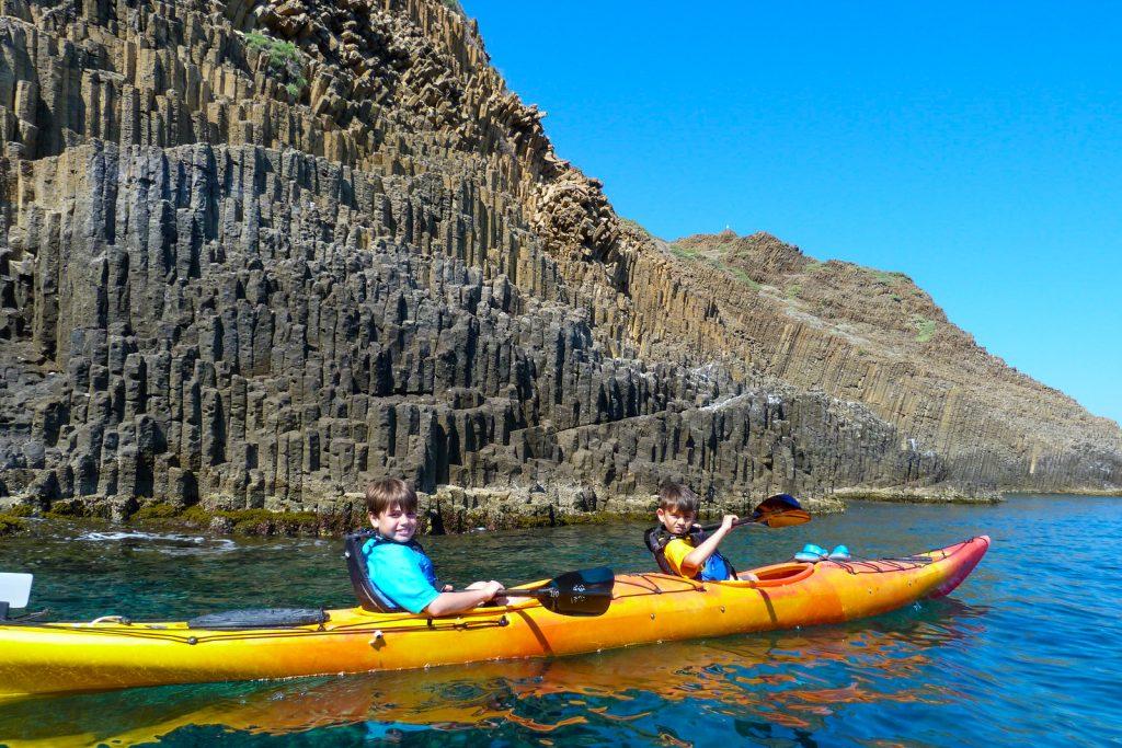 sea kayaking milos greece kids