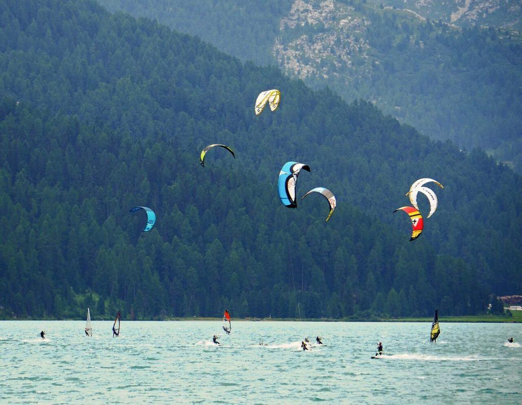 wind surfing engadin st moritz switzerland