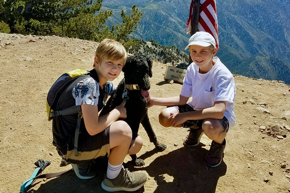 kids hiking outdoors with dog