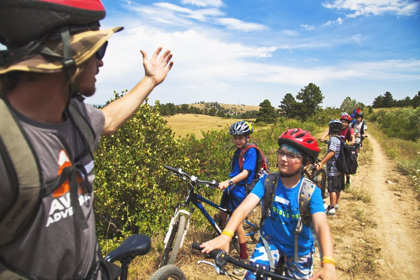 summer camp kids biking